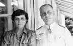 Famed German field marshal Erwin Rommel poses with his wife Lucie during WWII in a picture from his personal photo collection.
