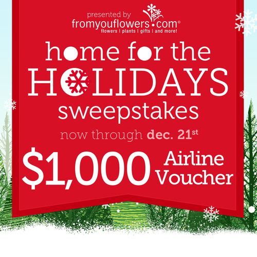 From You Flowers Announces their Christmas Sweepstakes: Home for the Holidays. Win a $1000 airline voucher or ...