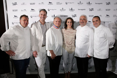 Bon Appetit Editor-in-Chief Adam Rapoport and Publisher Pamela Drucker Mann with French Chefs Francios Payard of Caesars Palace, Joel Robuchon of MGM Grand, Guy Savoy of Caesars Palace and Jean-Georges Vongerichten of Bellagio at Vegas Uncork'd by Bon Appetit