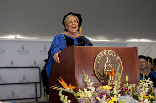 Internationally acclaimed personal finance expert and TV host Suze Orman inspires graduates at the 91st annual Bentley University Undergraduate Commencement. (PRNewsFoto/Bentley University)