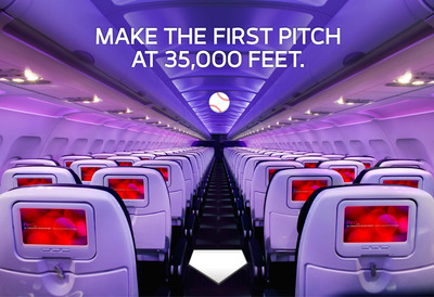 Virgin America Hosts First Pitch At San Francisco Giants Home Game - Live From 35,000 Feet Onboard A Commercial Flight.  (PRNewsFoto/Virgin America)