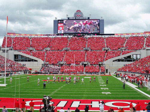 The Ohio State University Hi-Definition LED Scoreboard / Video Display is an example of a recent collaboration of Panasonic and Lighthouse.  (PRNewsFoto/Panasonic)