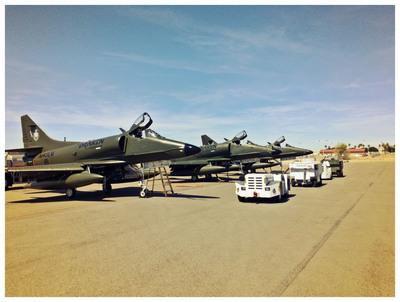 Draken International's Douglas A-4K Skyhawks on the runway ready to support the USMC.