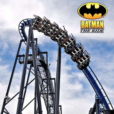 BATMAN The Ride Backwards at Six Flags Magic Mountain.