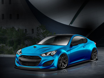 Hyundai and tuner John Pangilinan have again linked up, this time to develop a striking JP Edition Genesis Coupe in a custom-developed Atlantis Blue exterior color for the 2013 SEMA Show.  (PRNewsFoto/Hyundai Motor America)