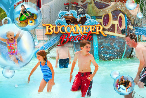 Coming to Six Flags Great Escape in Lake George, NY in 2015 is Buccaneer Beach family interactive sprayground. (PRNewsFoto/Six Flags Great Escape)