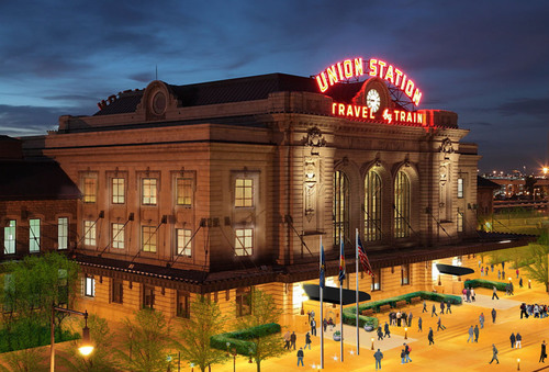 Just one of ten exciting reasons to visit Denver in 2014: Denver's Union Station is undergoing a massive restoration and redevelopment that will transform it in July 2014 into a transportation, dining, shopping and entertainment hub, all centered around a new 112-room hotel. (PRNewsFoto/VISIT DENVER, The Convention & Visitors Bureau) (PRNewsFoto/VISIT DENVER, THE CONVENTION &..)