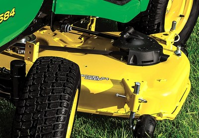 The new John Deere Accel Deep(TM) mower deck, compatible with John Deere lawn tractor and zero-turn mower lines, provides homeowners with a cleaner, faster cut and added versatility.