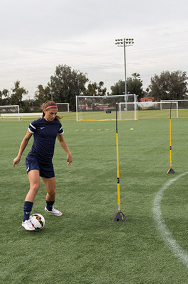 Alex Morgan practices with SKLZ Pro Agility Poles during recent shoot.