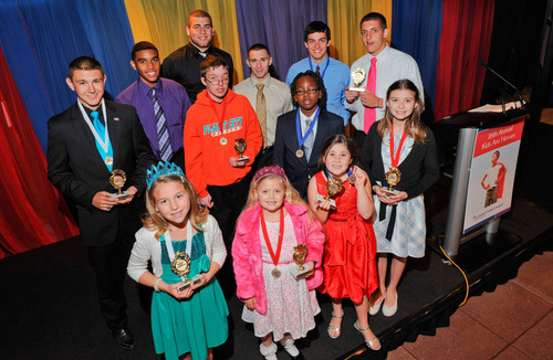 16th Annual Kids Are Heroes First, Second and Third Place winners proudly show off their medals.  ...