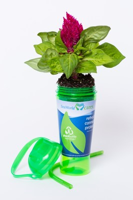 Being green is oh-so refreshing. That was the message today as SeaWorld Parks & Entertainment(TM) debuted the first refillable plastic cup made from plant-based materials.  Now available in all SeaWorld(R) and Busch Gardens parks across the U.S., the reusable, 100-percent recyclable plastic cup is manufactured using proprietary PlantBottle(TM) packaging technology from the company's beverage partner, Coca-Cola. (PRNewsFoto/SeaWorld Parks & Entertainment)