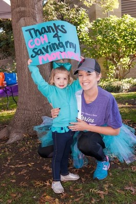 Women's cancers will affect one in three women in her lifetime. One of those women is cancer survivor Allisa Miller, diagnosed with ovarian cancer at age 29. Miller went to City of Hope for a second opinion and found reassurance and comfort as soon as she walked through the doors. Two years later, Miller is now cancer-free. Miller, pictured with her daughter, will walk with 10,000 other participants at this year's Walk for Hope.