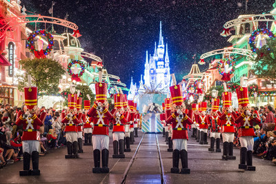 Toy soldiers parade down Main Street at Mickey's Very Merry Christmas Party, one of many unforgettable festive activities in Orlando this holiday season.
