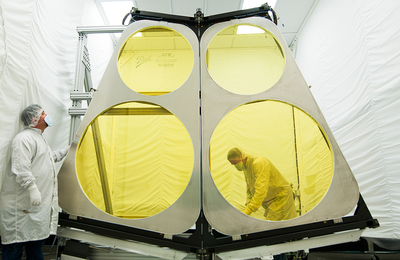 Ball Aerospace completed thermal vacuum and environmental tests on critical components for the Defense Advanced Research Projects Agency (DARPA) Membrane Optic Imager Real-Time Exploitation (MOIRE) telescope.  Two sections of the primary mirror composite back structure and the structure deployment hinges successfully underwent environmental tests to simulate the temperature range and vacuum of a space environment. The DARPA MOIRE program is demonstrating the ability to decrease mass and costs of large imaging systems using lightweight diffractive membrane optics. (PRNewsFoto/Ball Aerospace & Technologies)