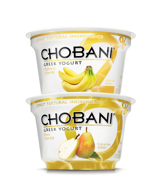 After countless requests, Chobani 0% Pear and 2% Banana are the newest fan-favorites to join the Chobani Greek yogurt family. With 14 grams of protein in each cup of authentic strained Greek yogurt, there are now 19 flavors to love.  (PRNewsFoto/Chobani)