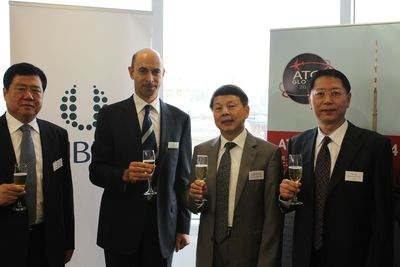 L-R: Mr. Han Zeng Min, Director, Civil Aviation Museum; Mr. David Levin, CEO, UBM plc; Mr. Zhou Xiaoming, Minister Counsellor, Embassy of PRC, London; Mr Zhao Fan, Director Technical Center ATMB (PRNewsFoto/UBM)