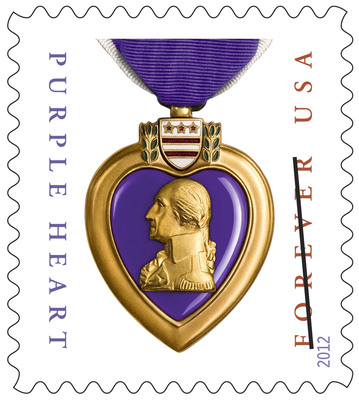 "The Postal Service is encouraging America to use the new Purple Heart Medal Forever stamp. ""The Postal Service helps families stay connected to their loved ones who defend our country,"" said Postmaster General Patrick Donahoe. ""Service members look forward to letters from home. When springing into action, letters from home are not left behind on a cot or at the bottom of a duffle bag. Those letters are tucked safely in pockets. They're kept close to their heart -- and they're pulled out and read again and again.""  (PRNewsFoto/U.S. Postal Service)"