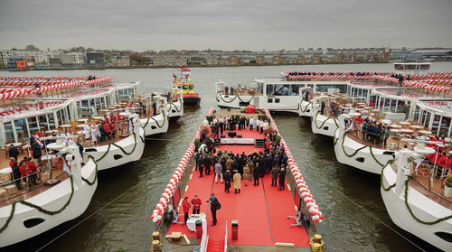 Viking Cruises christens nine of its award-winning Viking Longships in Amsterdam as part of a multi-phase event. In 24 hours, the company christened 16 of its award-winning Viking Longships – setting a GUINNESS WORLD RECORD – including four in Rostock, Germany; and three in Avignon, France. In total, Viking Cruises will christen a total of 18 ships in four countries over five days. For more information, visit www.vikingcruises.com. (PRNewsFoto/Viking Cruises)