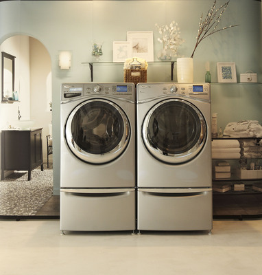 Whirlpool brand unveils industry's most resource efficient laundry pair - the premium front-load Duet(R) washer and dryer in NYC.  (PRNewsFoto/Whirlpool Corporation)