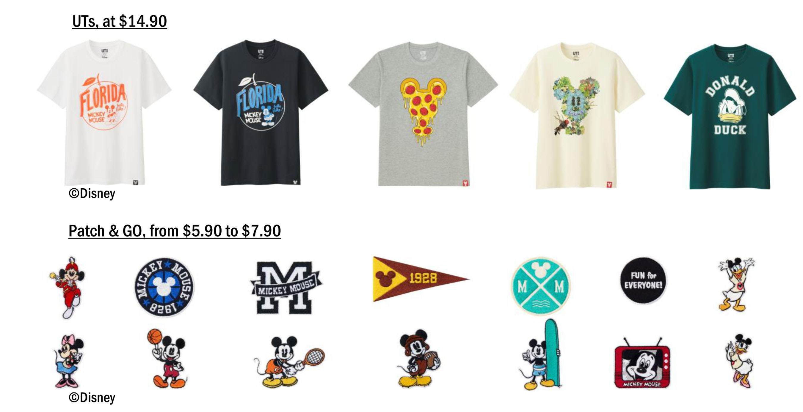 """An assortment of products are sold exclusively at the UNIQLO store at Disney Springs and at the Uniqlo.com online store, featuring iconic Disney characters like Mickey Mouse, as well as """"city"""" T-Shirts including Orlando, Florida. The store also sells exclusive Disney-themed patches, which can be ironed onto any UNIQLO item of clothing on the spot as a complimentary service."""