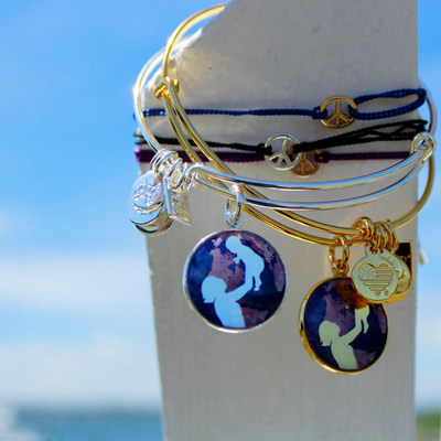 ALEX AND ANI Bright Future bangle and Kindred Cord World Peace in support of UNICEF
