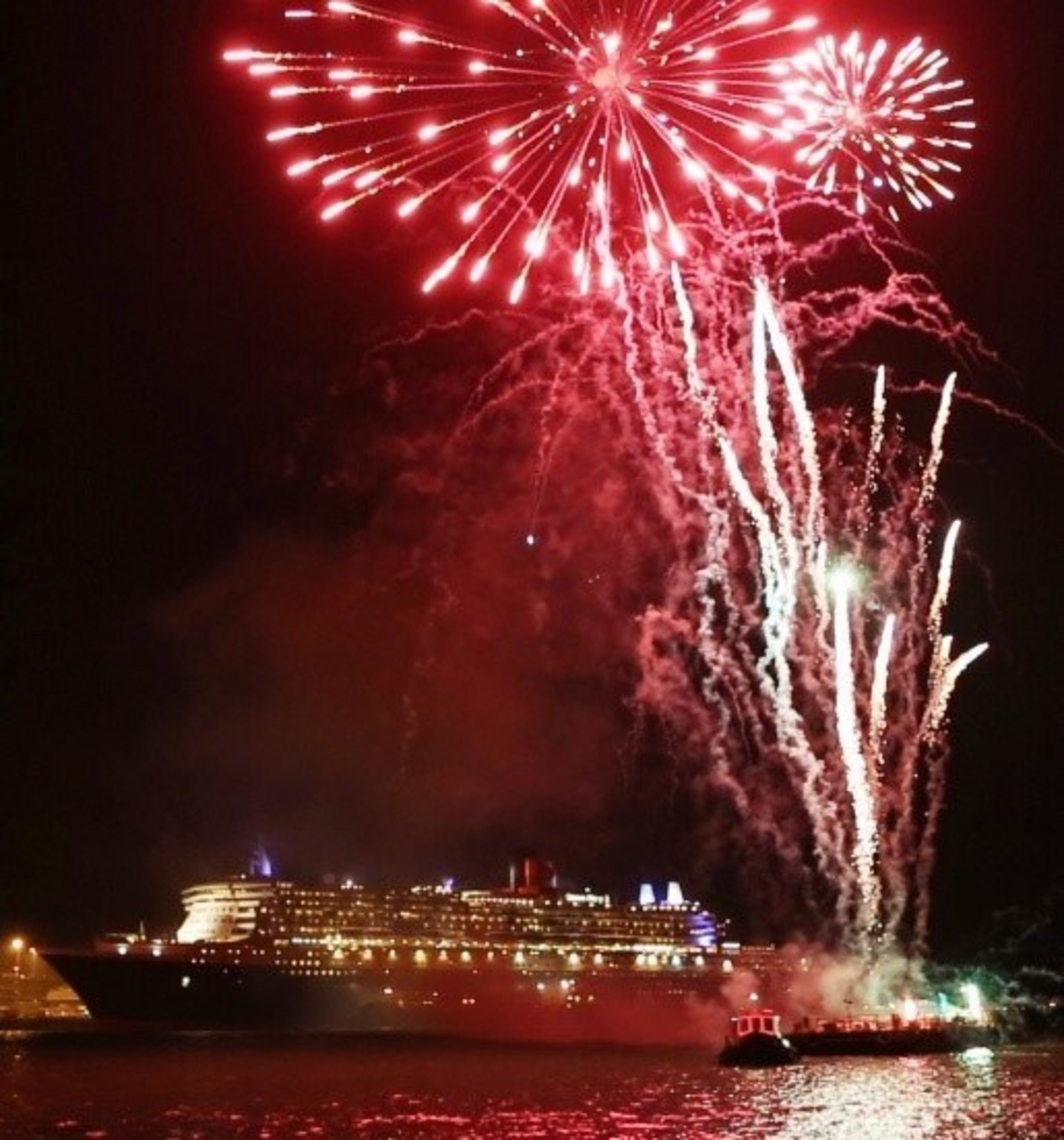 Fireworks added a festive celebration to flagship Queen Mary 2's World Voyage departure from Southampton on 10 January