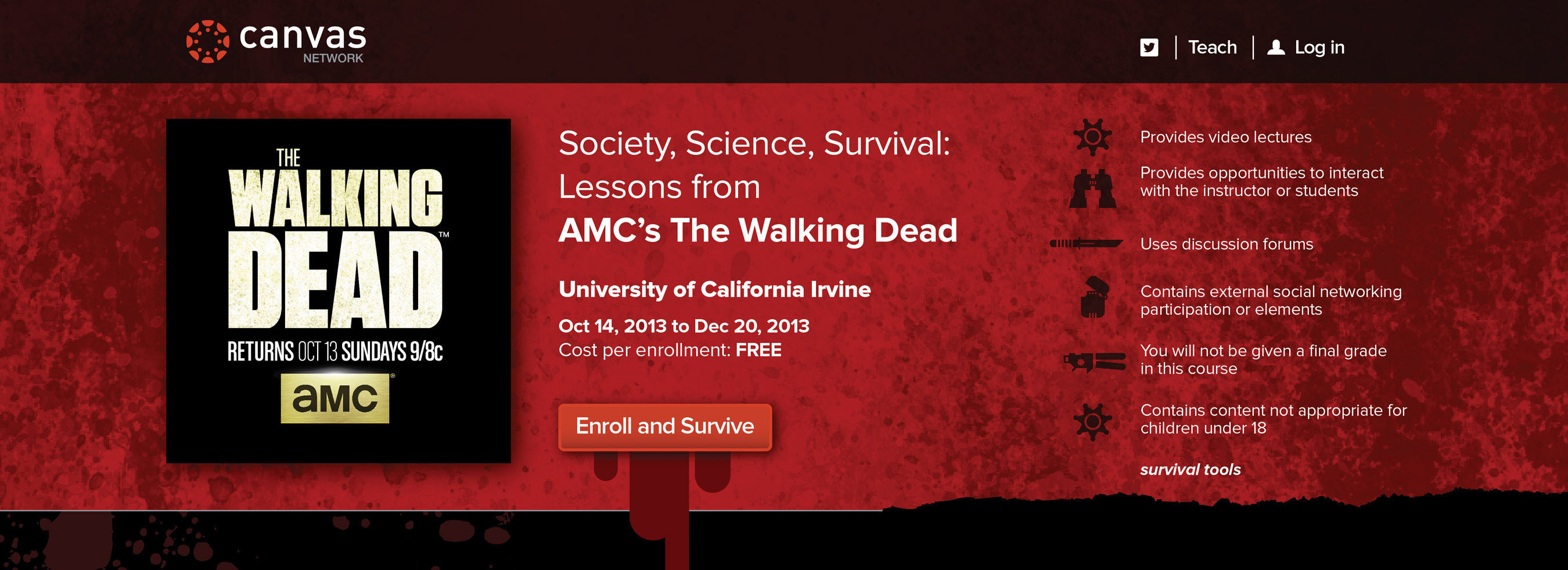 "AMC, Instructure and UC Irvine to Offer Cross-Disciplinary MOOC based on ""The Walking Dead."" Enrollment  ..."