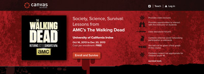"AMC, Instructure and UC Irvine to Offer Cross-Disciplinary MOOC based on ""The Walking Dead."" Enrollment is free and open at www.canvas.net/TWD.  (PRNewsFoto/Instructure)"