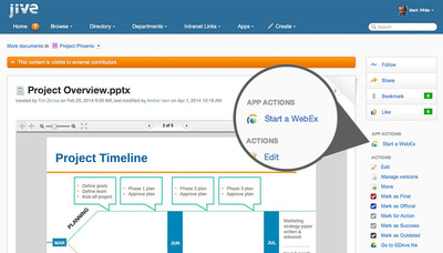 The Jive and Cisco integration provides a unified solution that enterprises around the world require today - offering one place for employees to communicate and collaborate, one place for customer communities to foster and broaden support, and one place for partners to drive business outcomes. Enterprises<br /> can now easily go between real-time communications, like instant messages, videoconferences and online meetings, with persistent, social collaboration, like blogs, discussions, wikis, posts, profiles and online groups.