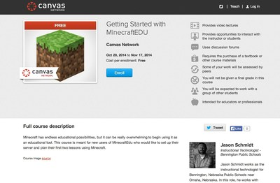 Free Course for Teachers on How to Get Started with MinecraftEDU from Canvas Network by Instructure. (PRNewsFoto/Instructure)