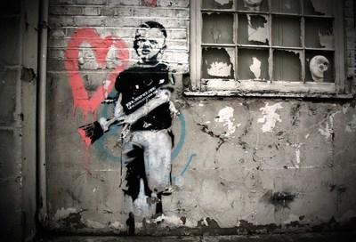 Banksy (British, 1974) Heart Boy, 2009.  Measurements: 87 in x 43 in x 18 in (220 cm x 110 cm x 45 cm).  Materials: Black aerosol stencil, pink acrylic on concrete and white-washed brick. Weight: 2000 kg (PRNewsFoto/Moco Museum Amsterdam)