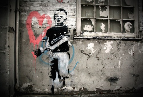 Banksy (British, 1974) Heart Boy, 2009.  Measurements: 87 in x 43 in x 18 in (220 cm x 110 cm x 45 cm).  ...