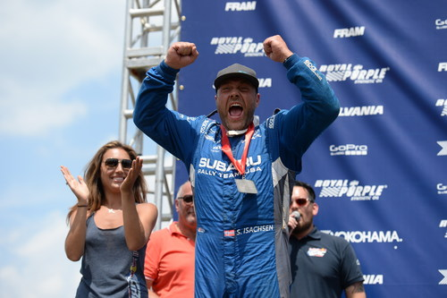 The 'Viking Warrior' Sverre Isachsen shouts with joy after claiming his best result of his Red Bull GRC  ...