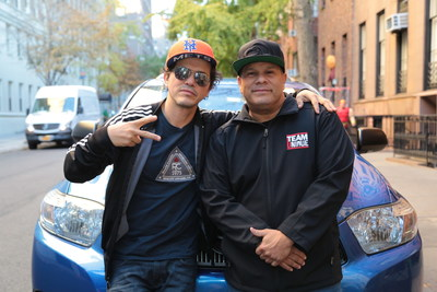 Will Castro, designer and protagonist of Discovery en Espanol's series 'Autos unicos con Will Castro', with celebrity guest John Leguizamo.