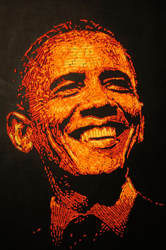 "Cheetos Facebook Fans Select Obama as Their Choice for ""Commander in Cheese"" Based on Presidential Portraits Made Entirely of Cheetos.  (PRNewsFoto/Frito-Lay North America,  Photo by Jack Dempsey/Invision for Cheetos/AP Images)"