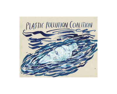 "30"" x 24"" - Raymond Pettibon, based on an original painting, ""Plastic Pollution Coalition"" 2010, ed. 25, $5000.  (PRNewsFoto/Plastic Pollution Coalition)"