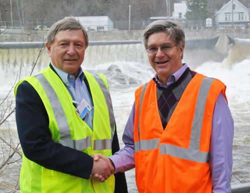 From left to right: Mike Minkos, president of Summit Natural Gas of Maine and Russ Drechsel, president of UPM Madison.  (PRNewsFoto/Summit Natural Gas of Maine)