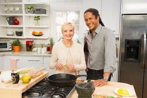 Florence Henderson and Govind Armstrong of RLTV's Who's Cooking with Florence Henderson.  ...