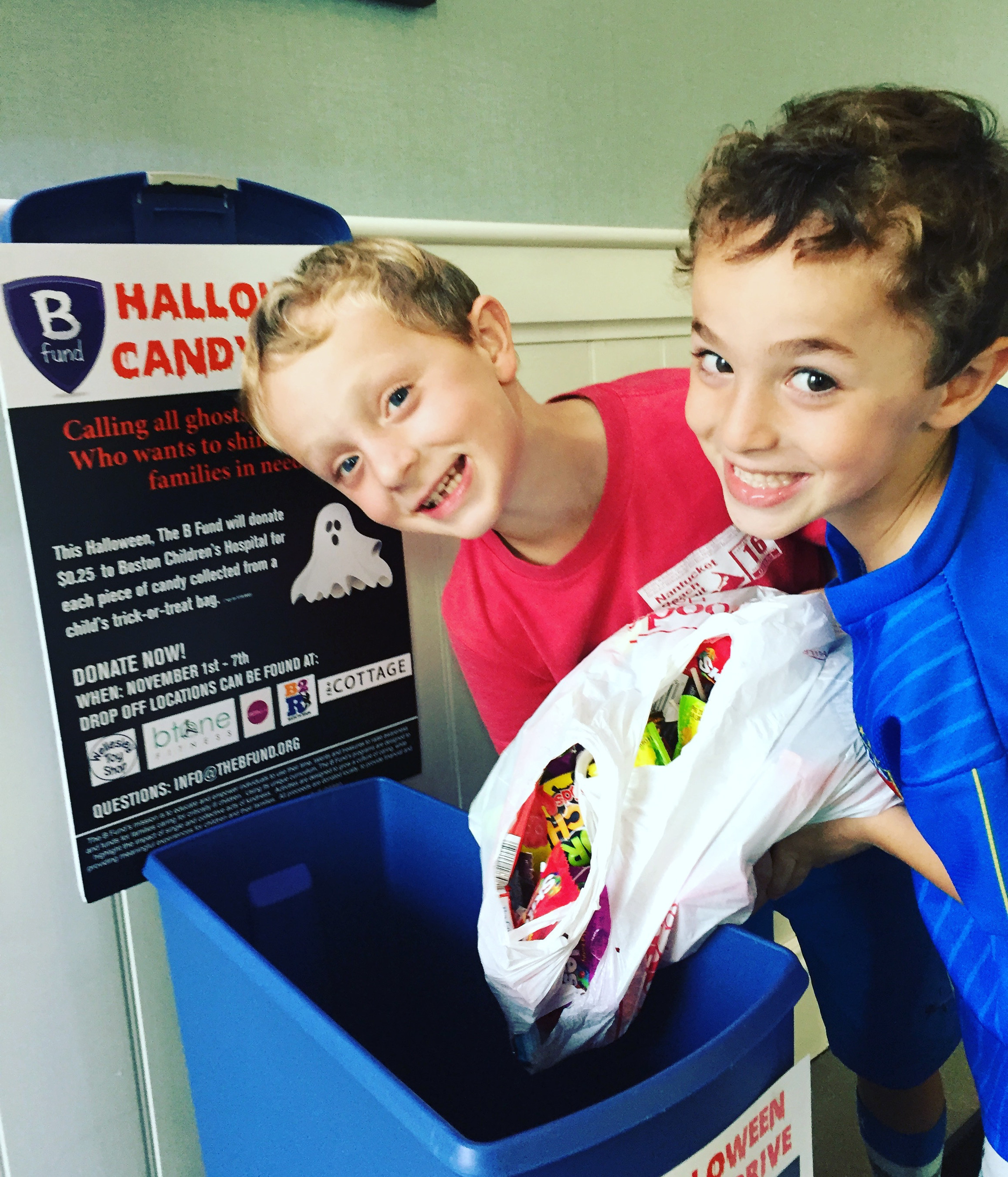 Brothers in Wellesley take a moment to donate their candy at The Cottage Restaurant in Wellesley, MA.