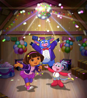 "Dora, Benny, and Boots in ""Dora Rocks!"" Primetime Special Premiering Monday, Jan. 14, At 7pm (ET/PT) On Nickelodeon.  (PRNewsFoto/Nickelodeon)"