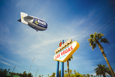 "This past May, the ""Bostik Blimp"" glides over Las Vegas and Philadelphia during HD Expo and AIA conventions."