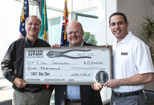 Klein Tools presents reward for oldest pliers found - circa 1904. From left to right: Mat Klein III - chairman,  ...