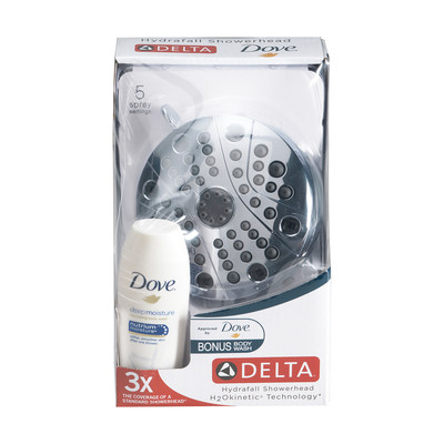 Delta(R) Hydrafall(TM) showerhead with H2Okinetic(R) Technology and Dove(R) Deep Moisture Body Wash