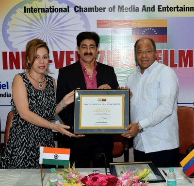 Sandeep Marwah honored with Chairmanship of Indo-Venezuela Film Association by HE Augusto Montiel, Ambassador of Bolivarian Republic of Venezuela