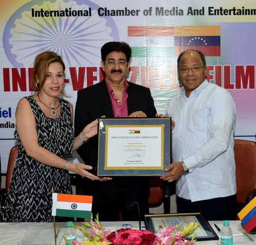 Sandeep Marwah honored with Chairmanship of Indo-Venezuela Film Association by HE Augusto Montiel, Ambassador ...