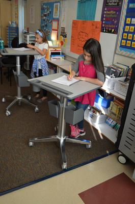 Beaverton students using Ergotron's LearnFit desks