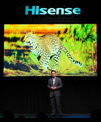 Jerry Liu, CEO, Hisense Americas, unveils the latest innovations in display technology during the Hisense 2016 CES Press Conference at the 2016 International CES inside the Mandalay Bay Convention Center on Tuesday, January 5, 2016, in Las Vegas. (Photo by Jeff Bottari/AP Images for Hisense)
