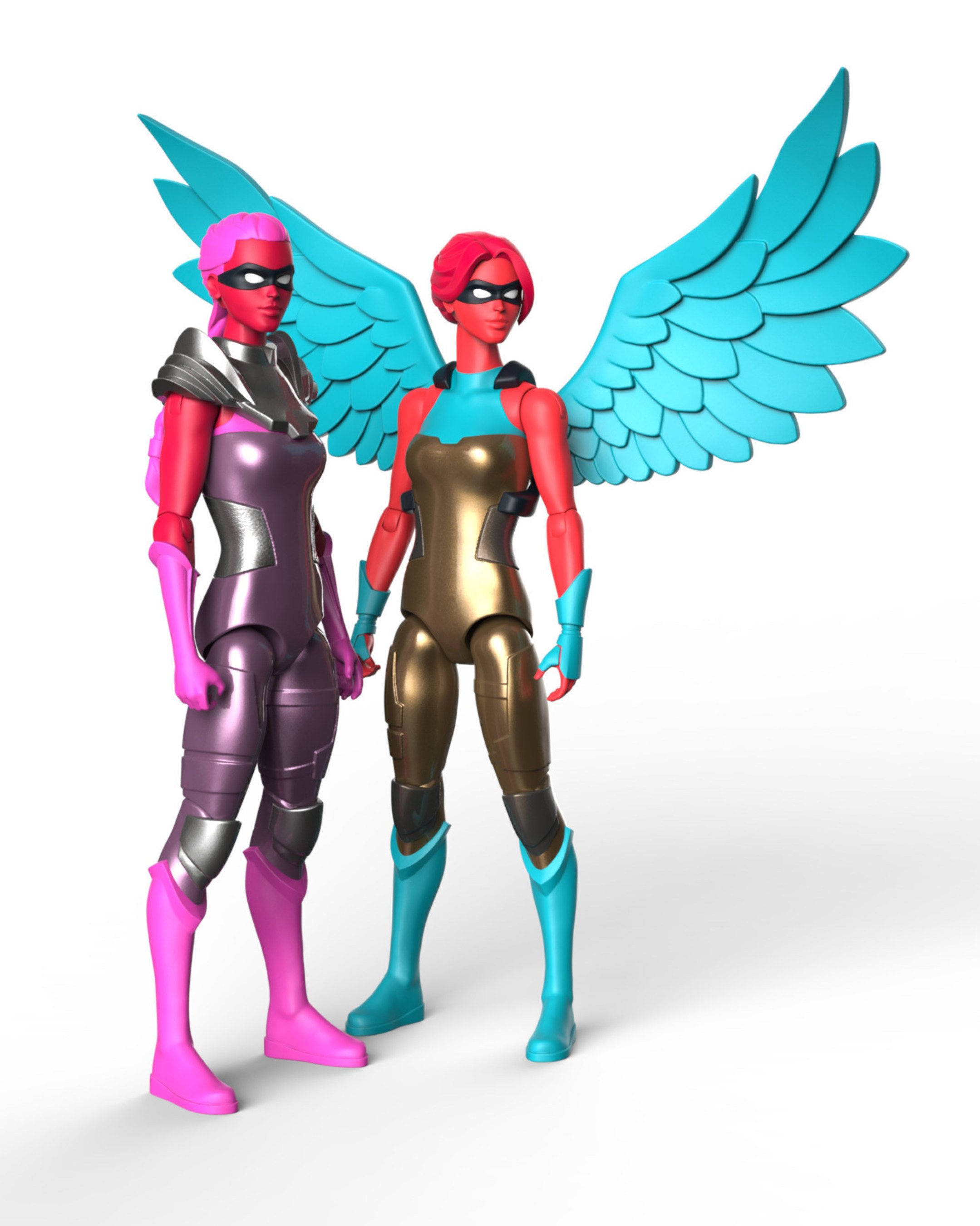 Limited-edition female action figures by IAmElemental: Pink Bravery, a metallic pink colorway benefiting breast cancer researchat the UNC Lineberger Comprehensive Cancer Center; and Gold Honesty, a metallic gold colorway exclusively for New York Comic Con attendees.  For more information, visit www.iamelemental.com.