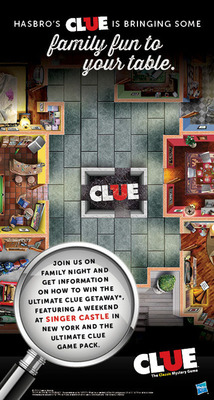 Ryan's, HomeTown Buffet and Old Country Buffet are partnering with Hasbro in December to feature Clue-inspired activities via Thursday Family Night, online games for kids, a trip giveaway to New York and more. For more information, visit www.Ryans.com, www.HomeTownBuffet.com or www.OldCountryBuffet.com. (PRNewsFoto/Ovation Brands) (PRNewsFoto/OVATION BRANDS)