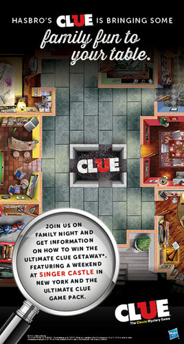 Ryan's, HomeTown Buffet and Old Country Buffet are partnering with Hasbro in December to feature Clue-inspired activities via Thursday Family Night, online games for kids, a trip giveaway to New York and more. For more information, visit www.Ryans.com, www.HomeTownBuffet.com or www.OldCountryBuffet.com.  (PRNewsFoto/Ovation Brands)